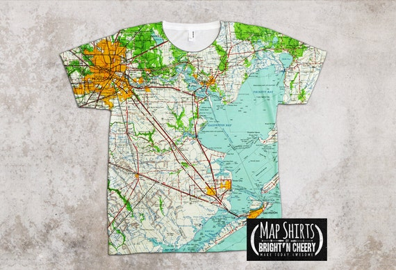 Houston texas vintage map shirt gulf coast galveston lone for T shirt printing pasadena tx