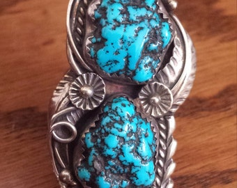 turquoise and silver vintage ring
