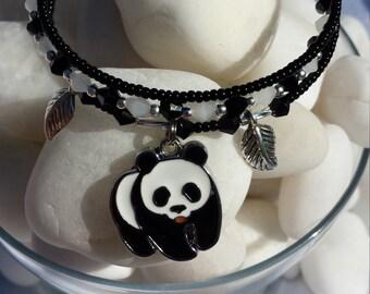 Panda bear jewelry - wildlife jewelry - handmade panda bear charm bracelet - wrap bracelet