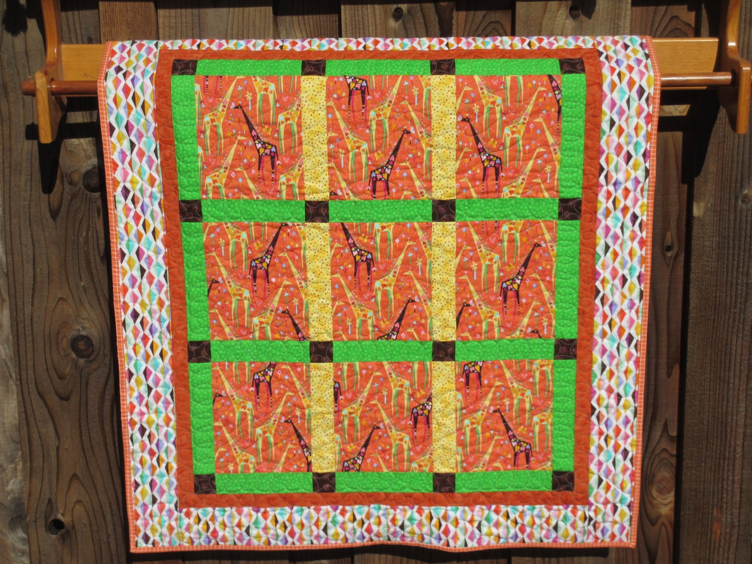 Origami Giraffe Modern Baby Quilt Ready to by SawdustandCotton - photo#20
