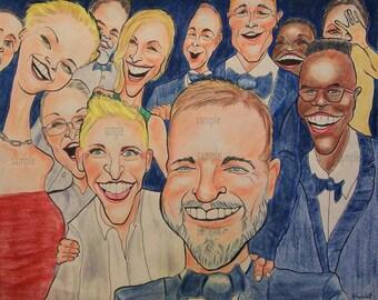2014 Academy Awards Selfie Caricature Portrait