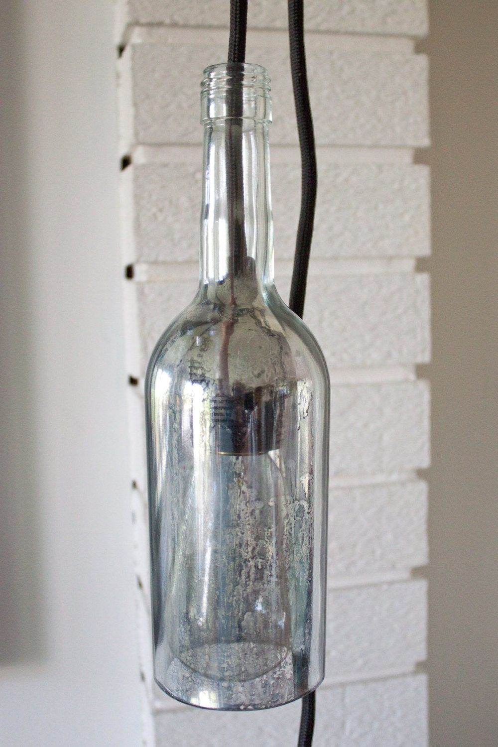 upcycled glass bottle light fixture by richardraedesign on