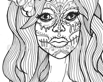 sugar skull girl coloring page download day of the dead - Day Of The Dead Coloring Pages