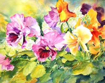 Watercolour without glass - Pansies Delight #3