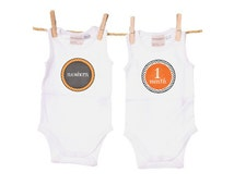 Monthly Iron-Ons - Stickers - INSTANT DOWNLOAD - Digital File - Printable - Newborn to 12 Months - For Baby-- Orange and Grey -
