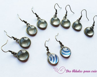 10 media necklace hooks and cabochons 12mm glass