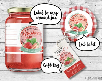 Strawberry Label Jam - Instant download