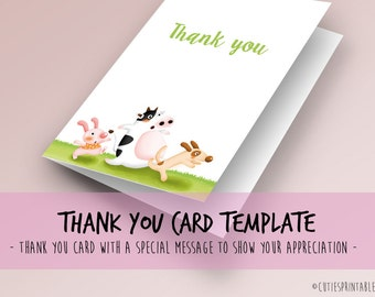 Baby shower cutie Thank You cards - Instant Download
