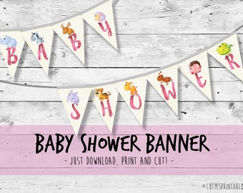Welcome Baby GIRL Shower Banner, Baby Shower Decorations - Printable / instant download