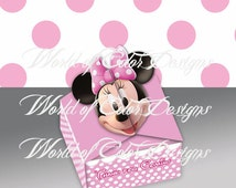 """Printable small box thank you for coming """" Minnie Mouse"""" (Instant download)"""