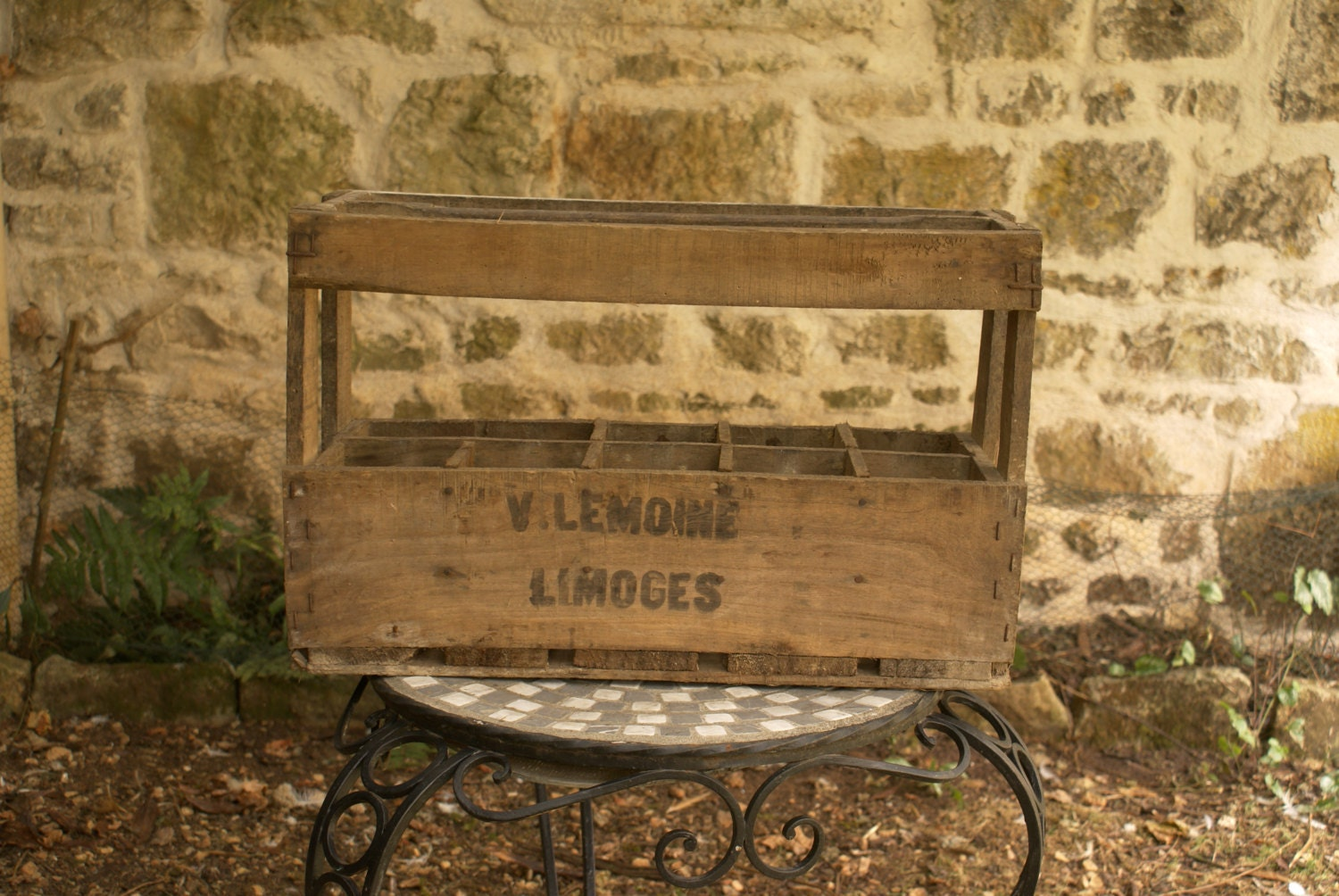 Vintage french wooden wine crate x10 bottle haute juice for Where can i find old wine crates