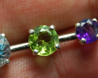 Beautiful and different 3-stoner. Amethyst, peridot and blue topaz pendant