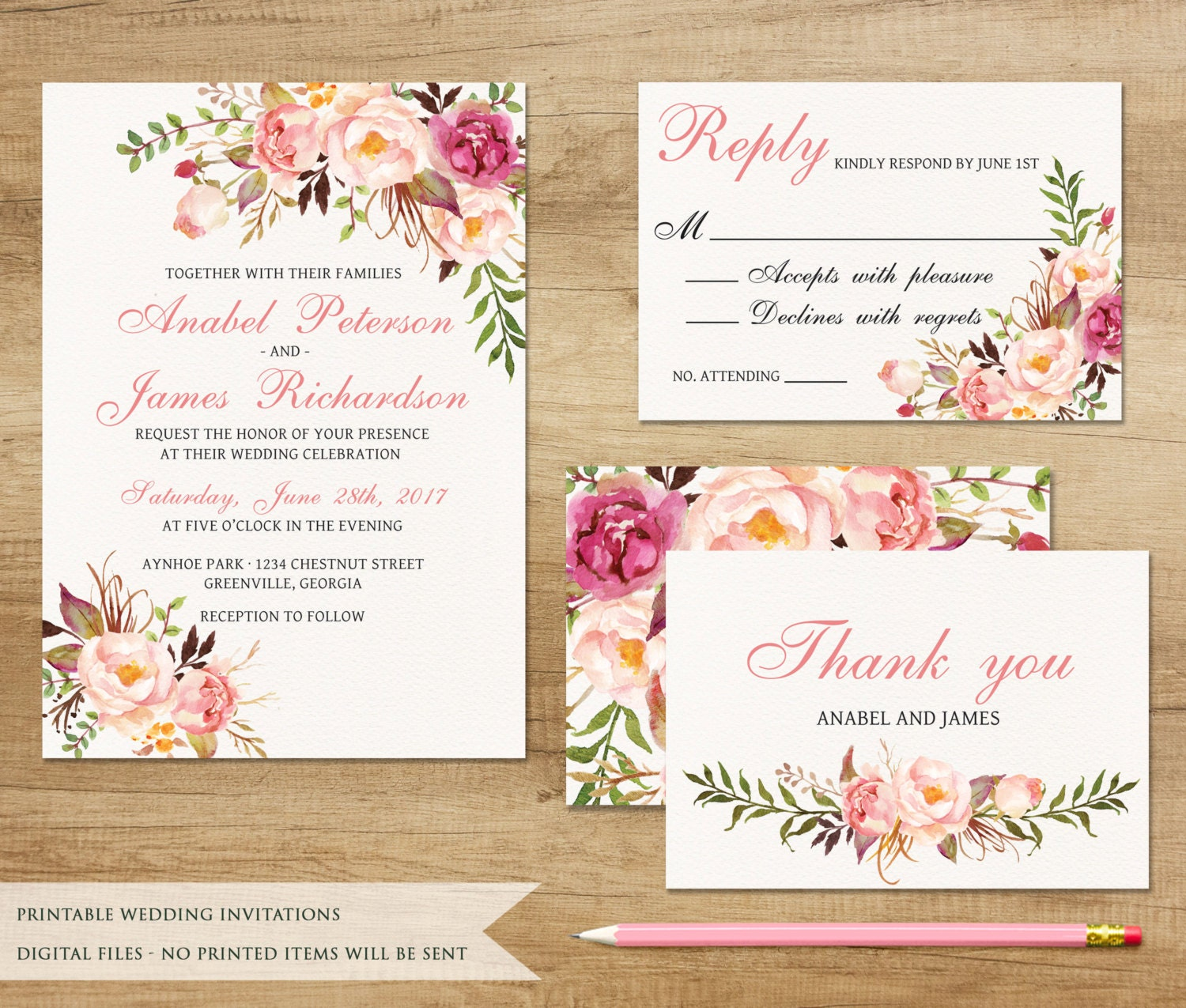 Floral Wedding Invitation. Printable Wedding Invitation