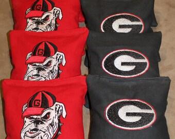 Embroidered Bulldog Cornhole Bags Set of 8