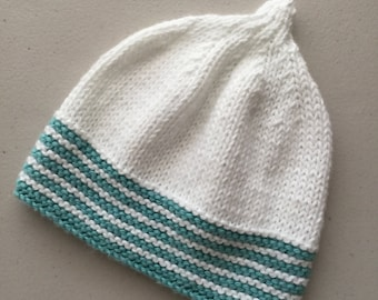Baby Hat, Knitted Cotton Hat, Beanie, Girls Hat, White and Turquoise