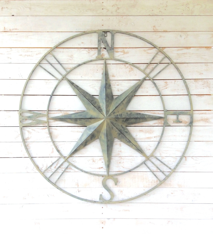Large Nautical Wall Decor : Iron wall large compass nautical art home