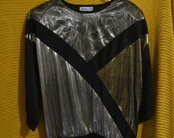 Vintage 80s Metallic Lame Top by Cherry Hill