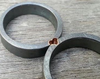 Wedding Bands set His and hers Wedding Bands Unique Wedding Bands Oxidized Silver Bands Mixed Metals Wedding Rings set Bimetal Wedding Bands