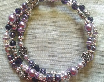 Purples and Chrysanthemum Coil Bracelet