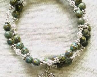 Blue-Green Jasper Coil Bracelet