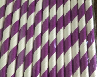 Purple Stripe Paper Straw (pack of 25)
