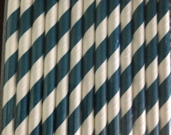 Dark Blue and White Stripe Paper Straw (pack of 25)