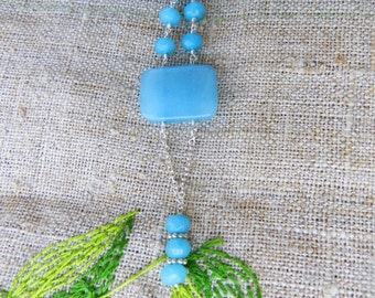 Stone  Necklace - Blue   Chalcedony -  Necklace