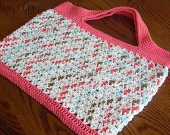 Market Bag Tote - Pink and White