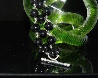 FT114 12MM Black Onxy Bead Bracelet, Size 71/4""