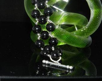 "CLEARANCE *FT114 12MM Black Onxy Bead Bracelet, Size 71/4"""