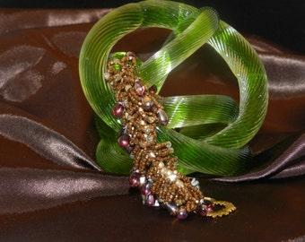 """FT23 Gold, Copper and Purple Fringe Bracelet, Size  7"""""""