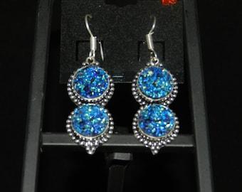 CLEARANCE* Blue Druzy Earrings
