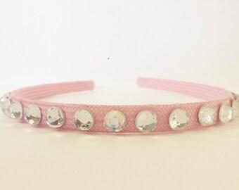 "Pink and White Hard Headband: ""Elegant Pink"""