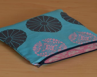 Cosmetic Bag Lge - Turquoise Navy & Pink, Zippered Pouch, Makeup Bag