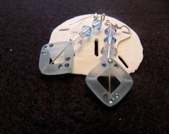 Starovski, crystal ,light blue, dangling, earrings
