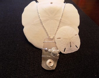 Large white frosted sea glass pendant necklace