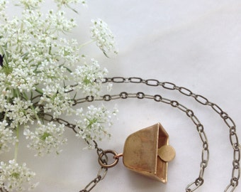 Vintage Brass Bell and Antiqued Brass Necklace