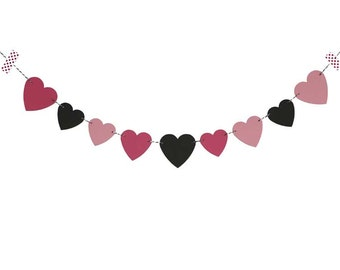 Hearts Bunting / Pink and Black