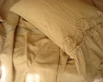 Beige ruffled euro sham pillowcase stonewashed linen pillowcase with ruffles pillow sham ORIGINAL DESIGN  by LUXOTEKS