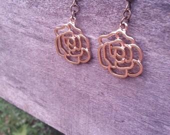Golden Rose Dangle Earrings