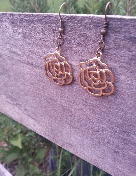 Golden Rose Dangle Earrings