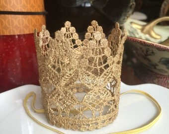 Gold Birthday Crown, birthday crown, birthday headband, infant headband, infant crown, toddler crown, girls headband, crown headband