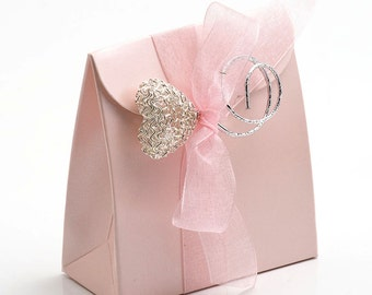 10 Pink Satin Satchel Favour Boxes
