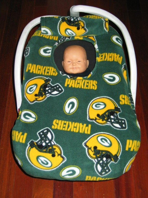 items similar to green bay packers fleece infant car seat carrier cover new baby cozy fits. Black Bedroom Furniture Sets. Home Design Ideas