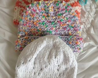 hand knit baby hats 6 months