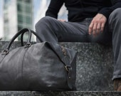 Real Leather Duffle  Duffel Bag by Fox Archer  Classic Black Leather Duffle Weekend Holdall Bag