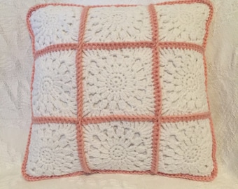 "12"" x 12"" Crochet Shabby Chic Pillow"