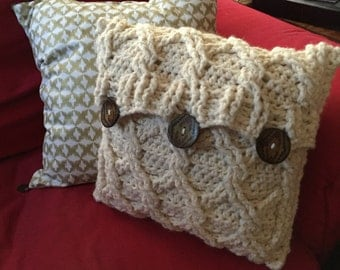 "12"" x 12"" Crochet Cream Aran Pillow"