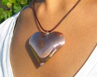 Copper Heart Pendant, Hand Forged Puffed