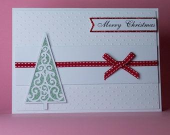 Swirl Christmas Tree Handmade Christmas Card, red, green and white christmas card, personalised christmas card